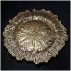 Gold Leaf Glass Charger Plate